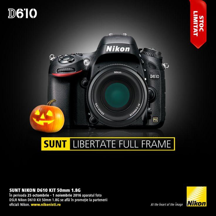 In perioada 25 octombrie - 01 noiembrie 2016 aparatul foto DSLR Nikon D610 Kit 50mm 1.8G se afla in promotie la partenerii oficiali Nikon.