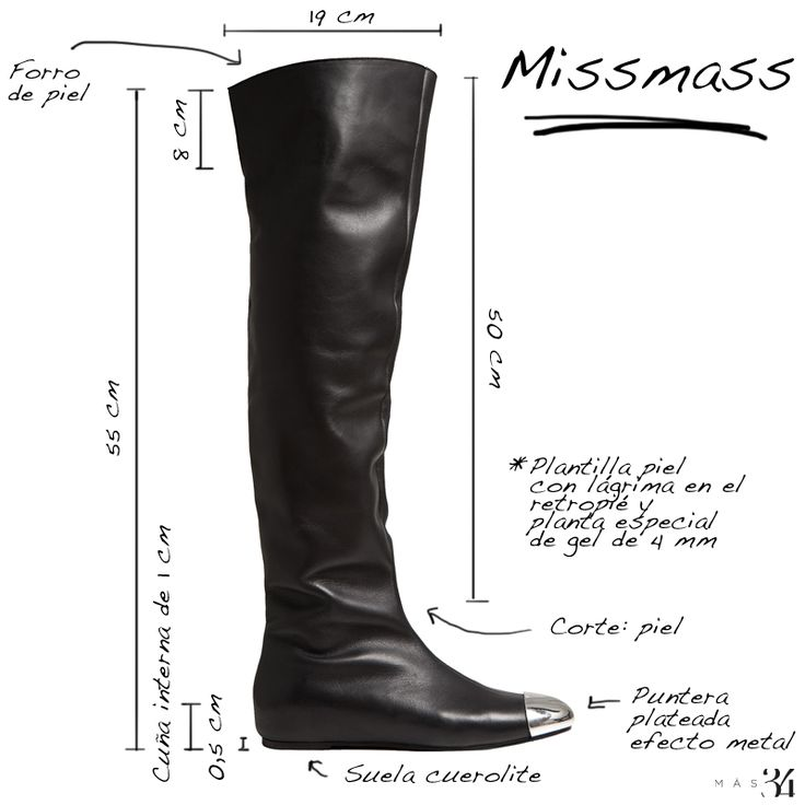 Infografía bota plana MissMass piel negra y punta plata MAS34 http://www.mas34shop.com/tienda/bota-missmass-piel-negra-y-punta-plata/