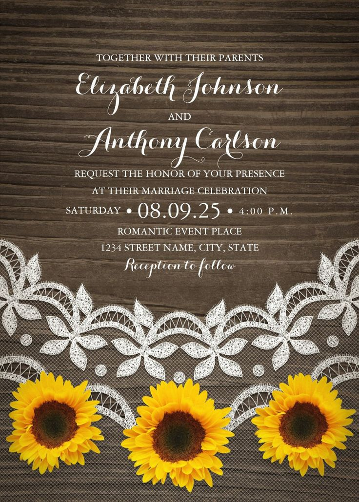 Rustic Country Lace Sunflower Wedding Invitations. Romantic sunflower wedding invitations that feature beautiful country lace 3 sunflowers on a dark vintage wooden background. Creative invitations for rustic, summer, country, barn, farm or any wedding traditional or unusual. You can customize these wedding invitations online. Order your first sample today.