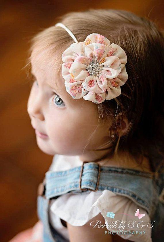 Creme de pêssego do bebê headband do vintage print floral país recém-nascido Meninas Fotografia Prop Primavera Verão Rhinestone Chiffon Big Meninas Meninos
