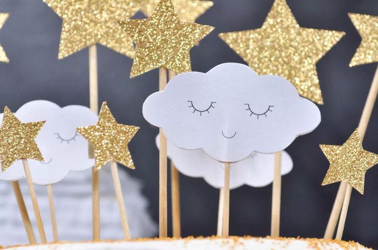 Toppers nuages et étoiles dorées par Rose Caramelle