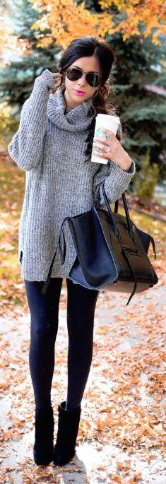 #fall #fashion / gray turtleneck knit