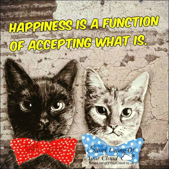"""""""Happiness is a function of accepting what is."""" –Werner Erhard ..._More fantastic quotes on: https://www.facebook.com/SilverLiningOfYourCloud  _Follow my Quote Blog on: http://silverliningofyourcloud.wordpress.com/"""