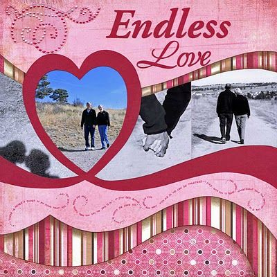 Endless Love Scrapping Page...love the curvy waves borders & heart cut out for photos.