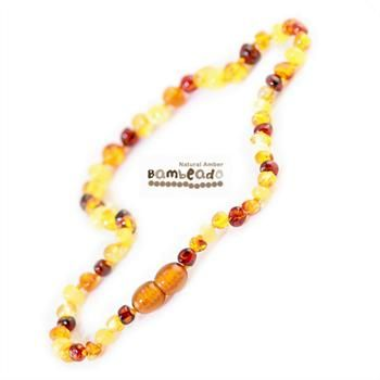 Bambeado Amber necklaces for kids are approx 37cms in length. Bambeado amber necklaces and bracelets are designed to be worn and not chewed. Each Bambeado has been carefully handcrafted with safety in mind. Each amber bead is carefully rounded and polished to be comfortable against your childs skin. Bambeado amber beads are delivered in a free natural woven pouch with care instructions.While Bambeado amber comes in several colours, the colour is just a matter of personal choice.