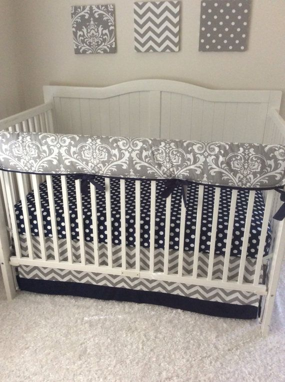 Navy and Grey Baby Boy Crib Bedding Set