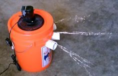 Homemade 5 gallon bucket Air Conditioner: Small fan set on top of lid, 1 gallon milk jug of frozen water inside the bucket. Air output varies between 40-45 degrees F. It can also be made with a styrofoam cooler instead of the bucket.