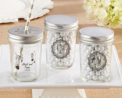 Kate Aspen Personalized Mason Jars With Boho Chic Designs Set Of 12 Wedding FavorsPersonalized