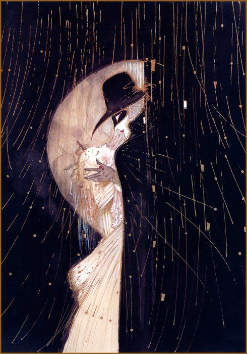 Oh god, it's like Der Kuss by Klimt. My heart aches, may i please own this? // Artist: Yoshitaka Amano