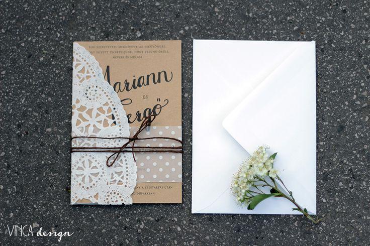 Vinca Design, wedding invitation, wedding stationery, rustic wedding invitation, natural wedding invitation, recycled paper // esküvői meghívó, rusztikus esküvői meghívó, natúr esküvői meghívó, újrahasznosított papír