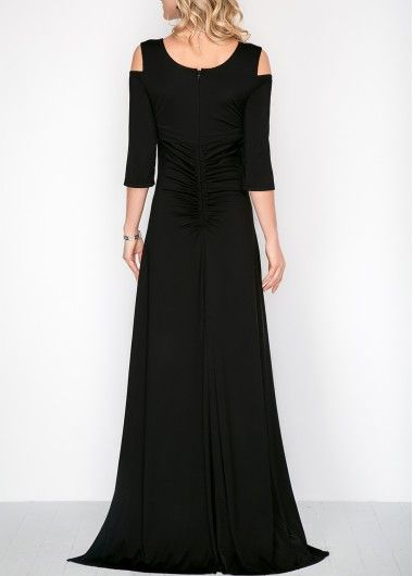 Three Quarter Sleeve Cold Shoulder Maxi Dress | ~ Gorgeous Gowns ...