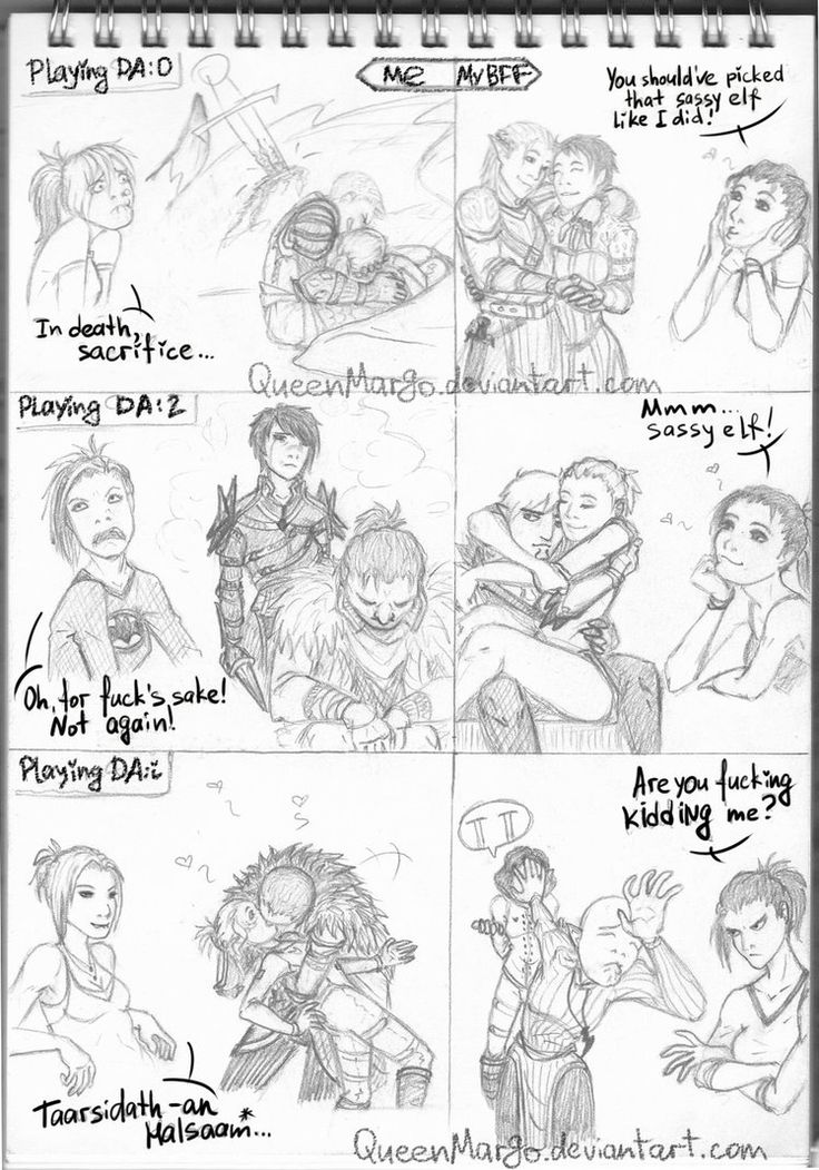 DA Inquisition: Happy ending by QueenMargo on DeviantArt ^ that's literally me and my friend xD she always went with the elves and I went with the blondes. She was so pissed by the end of Inquisition