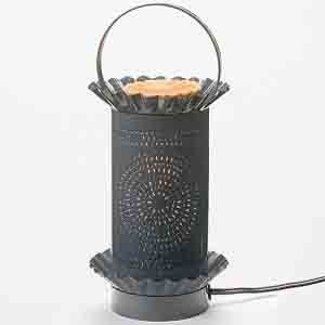 """Punched Tin Electric Burner (Metal) - Grey/Wheel, Wax Potpourri Tarts / Oils # 07274 by Levin Gifts. $19.99. Includes an on-off switch and 40 watt torpedo shape light bulb.. For use with wax potpourri from Bridgewater Candle, Scentchips, Yankee Candle, Colonial Candle, and more.. Approximate size 8"""" height x 4"""" diameter. Shipped in white box.. Comes in white box. Candles Not Included.. Think safety. Fragrance your home, office or dorm with wax potpourri without an open flame. T..."""