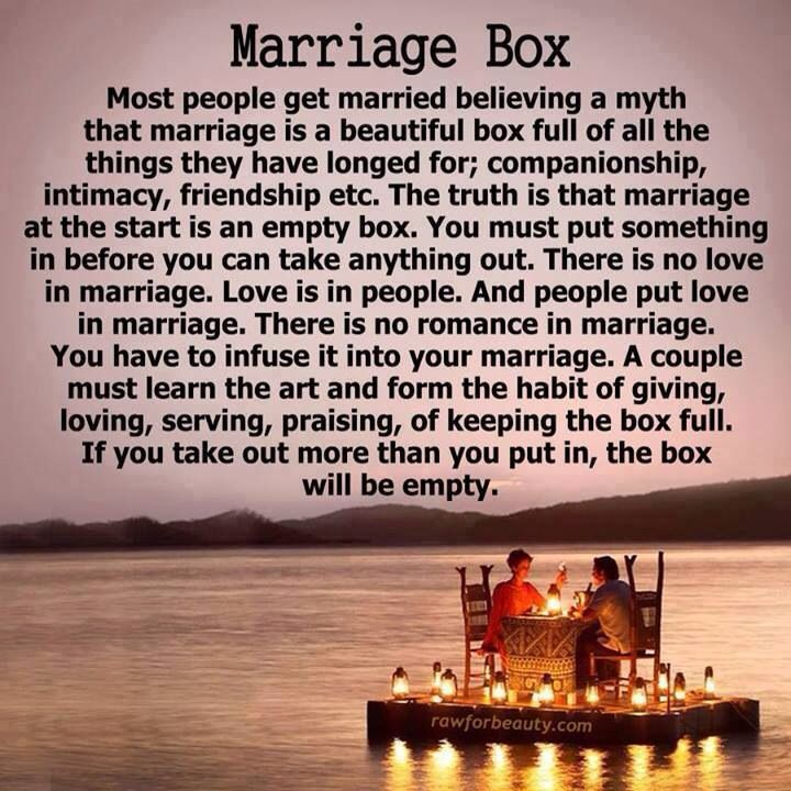 Marriage Box. a couple must learn the art and form the habit of giving, loving, serving, praising, of keeping the box full.  If you take out more than you put in, the box will be empty.