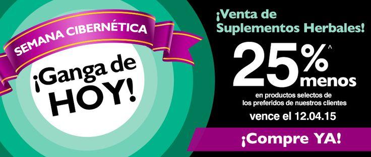 GANGA DE HOY  25% de descuento en suplementos herbales  Vence el 4 de diciembre http://es.puritan.com/a-z/venta-de-suplementos-herbales/?scid=29138