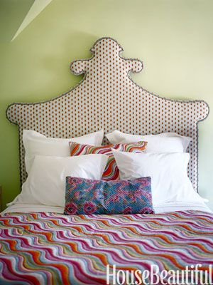 Happy Green Walls. Design: Annie Selke. housebeautiful.com #kids_rooom