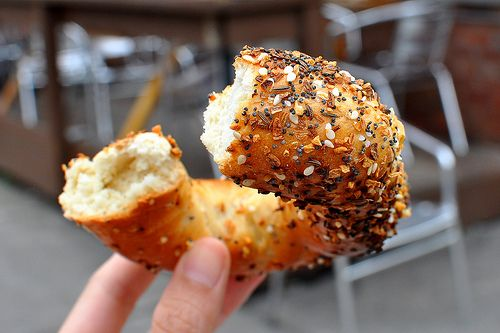 An everything bagel from Fairmount Bagel in Montreal - nature's perfect food
