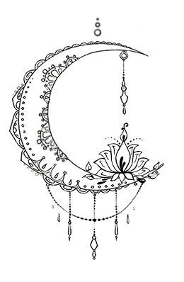 Bohemian Moon Tattoo Design Designed by The Devil is in the Details Design www.facebook.com/thedevilisinthedetailsdesign