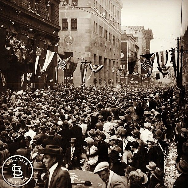 On October 10, 1926, the Cardinals claimed their first modern world championship with a 3-2 win over the Yankees in game seven of the World Series at Yankee Stadium. This photo shows the celebration in the streets of St. Louis, following the victory.
