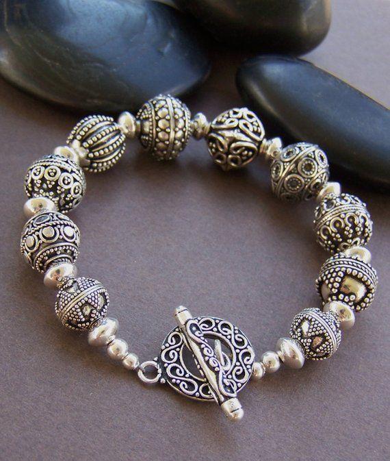 92e2370b1 RESERVED - Nadia Bali Silver Bracelet - Sterling Silver Bali Beaded Bracelet