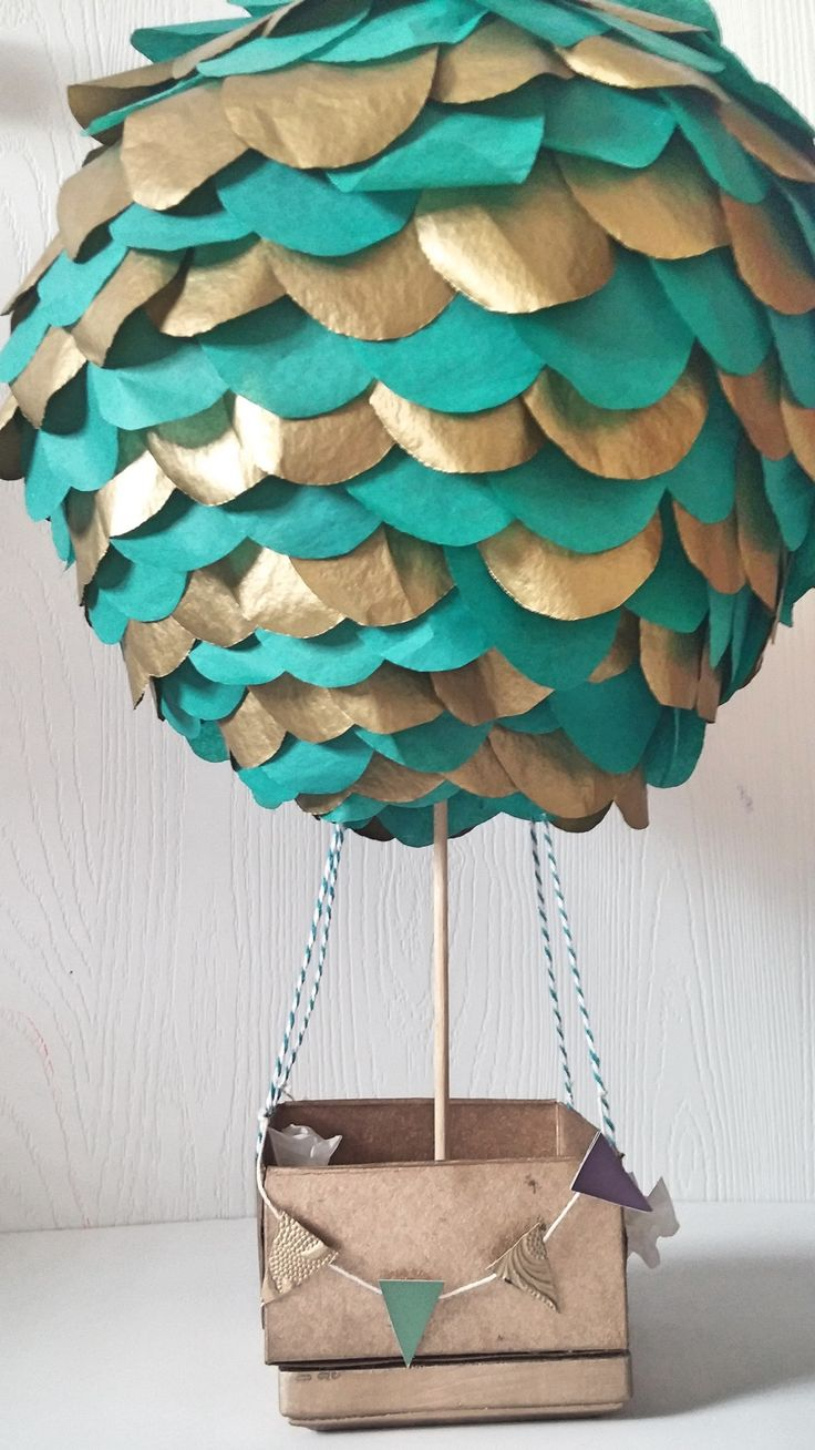 Hot Air Balloon Centerpiece- Teal and Gold