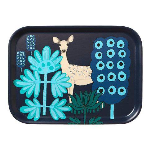 Marimekko Kaunis Kauris Navy/Turquoise Small Tray $35.00  #pintofinn