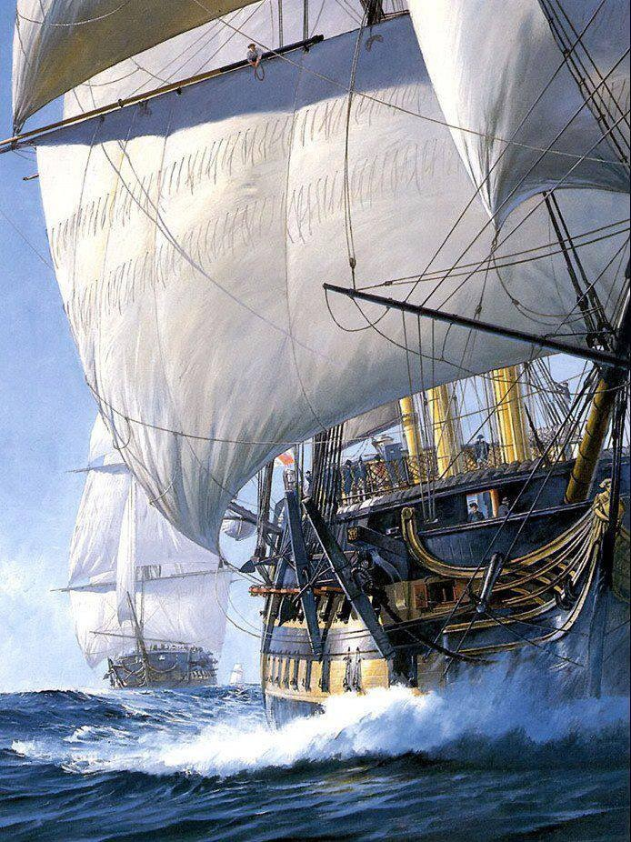 just a painting but it expresses the tall sails and sea meeting ...