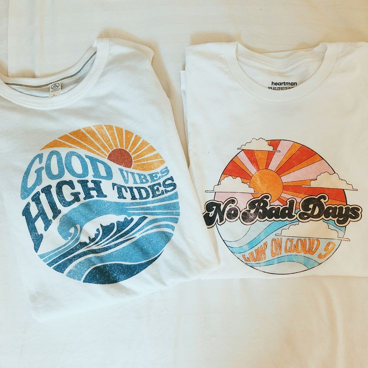 Our newest collection of beach style graphic tees! With distressed, vintage styl…