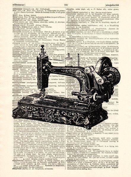 Originele prints - Antieke naaimachine print op een vintage pagina - Een uniek product van Dictionary-vintage-book-page op DaWanda
