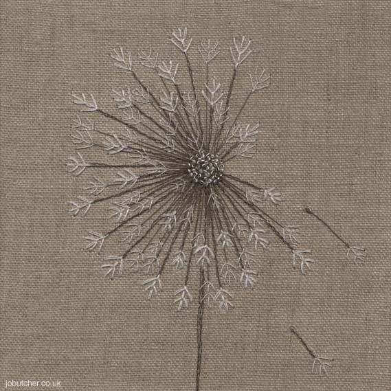 Love this embroidered dandelion - from Jo Butcher, UK. Would be cool with metallic thread.