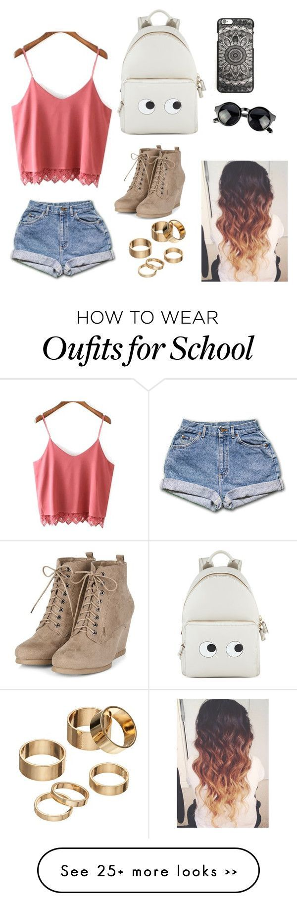 Back to school by fashionistahawaii on Polyvore featuring Anya Hindmarch and Apt. 9 Clothing, Shoes & Jewelry - Women - nike women's shoes - http://amzn.to/2kkN5IR