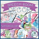 Speech Room Decor Kit {Watercolor} - perfect for decorating a speech therapy room - speech room decor, speech therapy decorations, speech therapy room, slp decor, slp posters