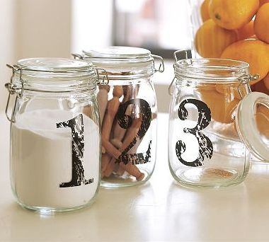Use #mason #jars to hold dry goods in the #kitchen