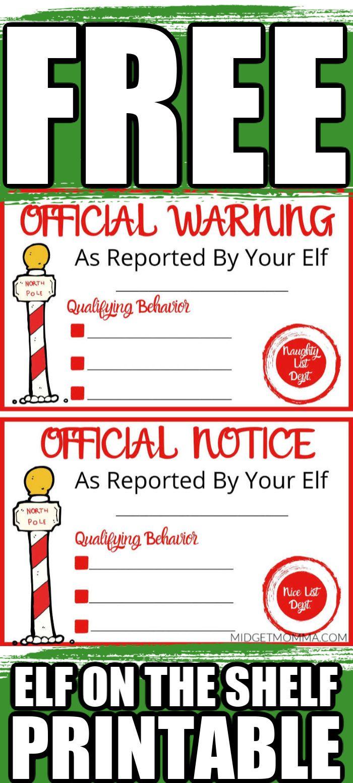 Naughty Or Nice Notice Elf On The Shelf Printable Elf On The Self Awesome Elf On The Shelf Ideas Naughty Or Nice List