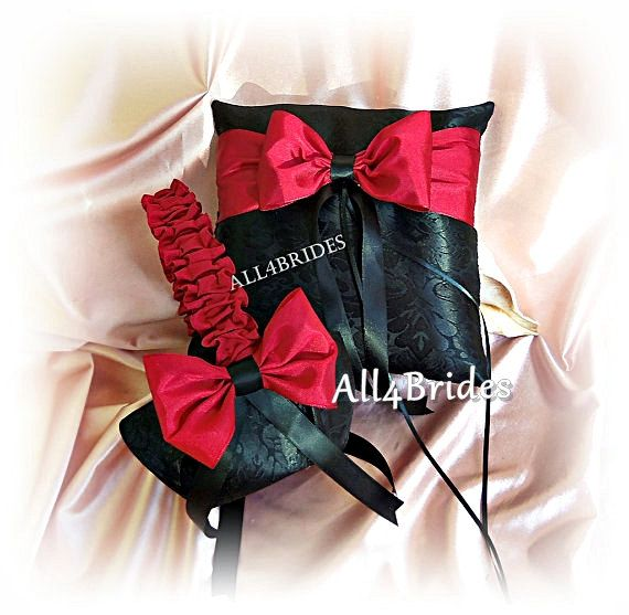 Damask wedding pillow and basket apple red and black by All4Brides, $75.00