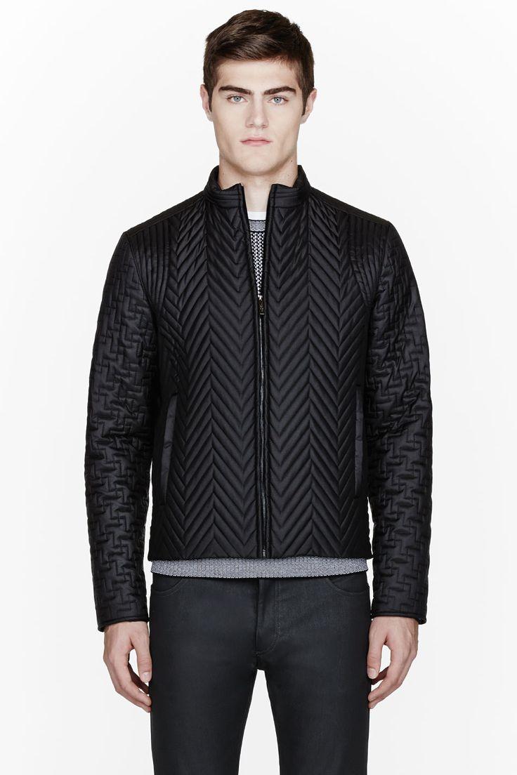 CALVIN KLEIN COLLECTION Black Quilted Herringbone BARIO jacket