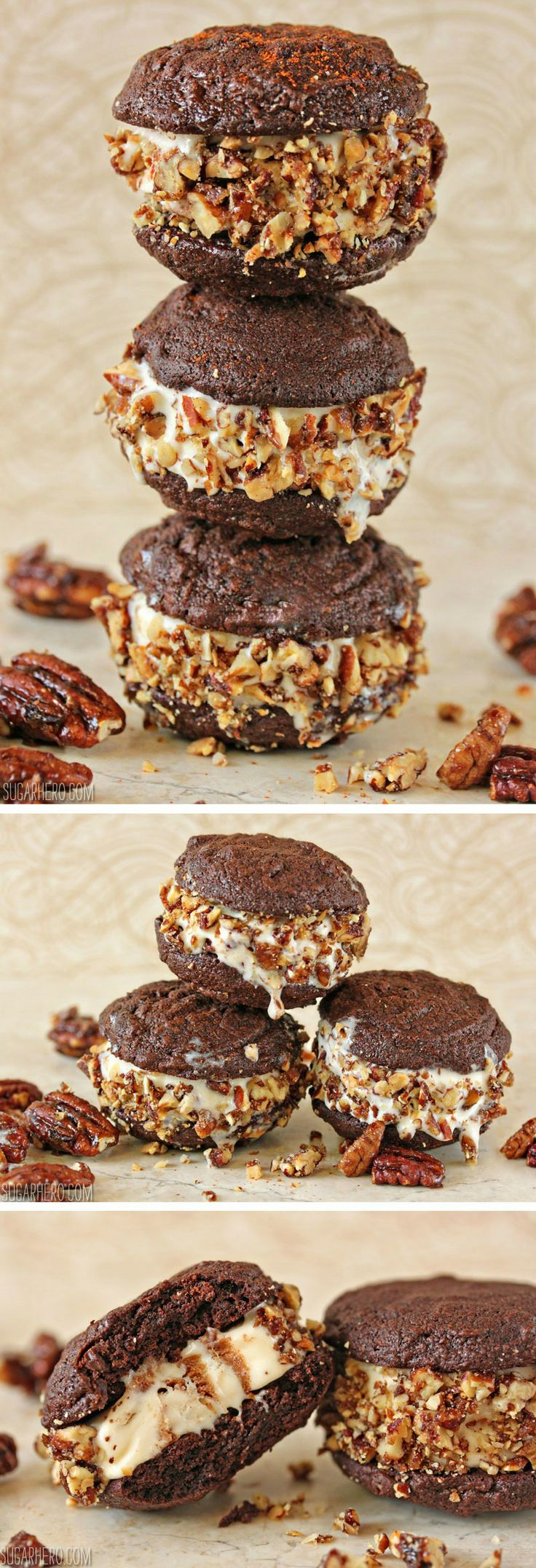 Spicy Chocolate Ice Cream Sandwich Cookies - fudgy cookies, soft ice ...