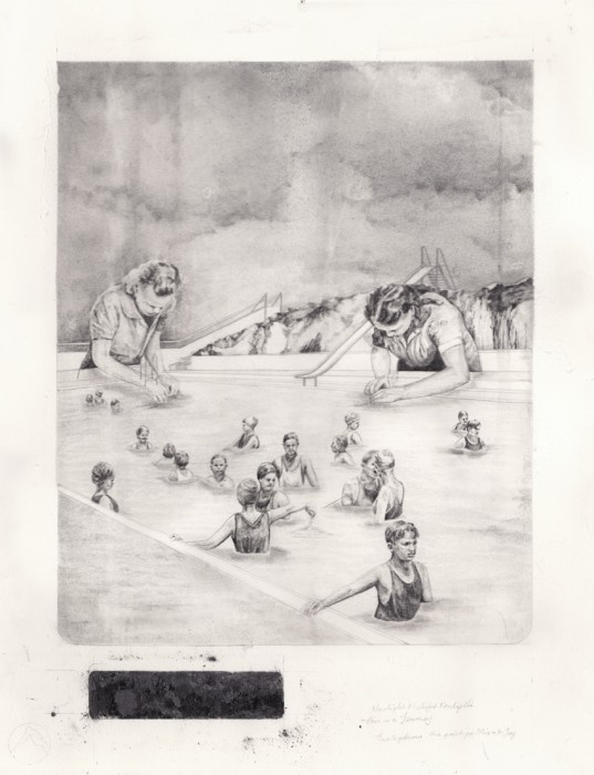 Becc Orszag  The Test Pool  graphite, charcoal and carbon on paper / 43x56 cm