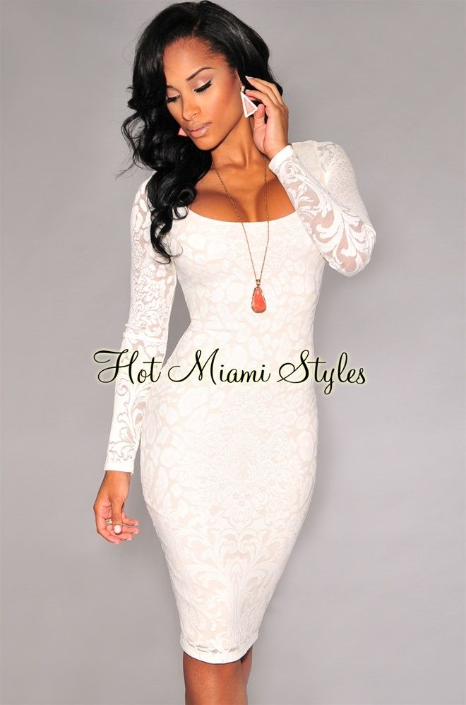 123bd8274f612 Off-White Lace Long Sleeves Back Vent Midi Dress in 2019   Dress ...