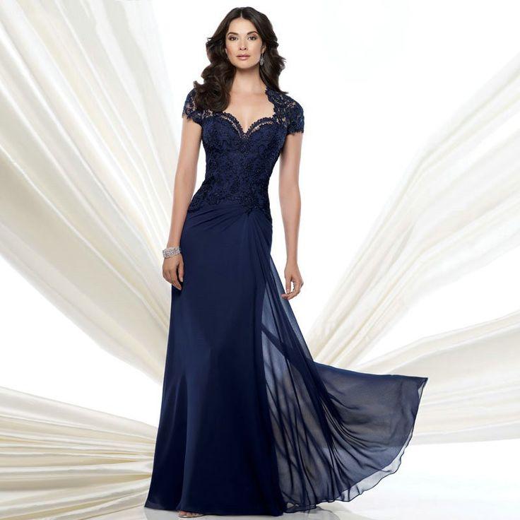 New Design Vestido Elegant Navy Blue Lace Evening Gowns