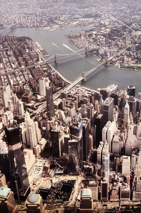 NYC. Sky view over Lower Manhattan and East River reminds me of Percy Jackson