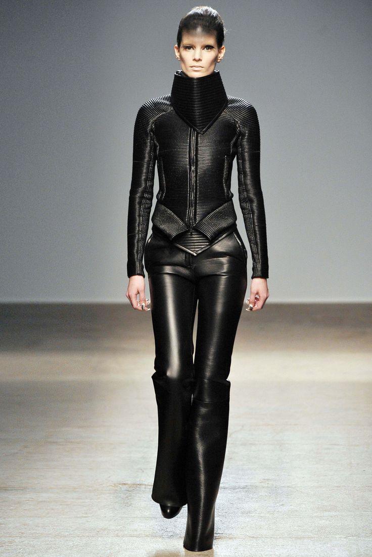 Futuristic Fashion Model Royalty Free Stock Photos: Gareth Pugh #leather #runway #black