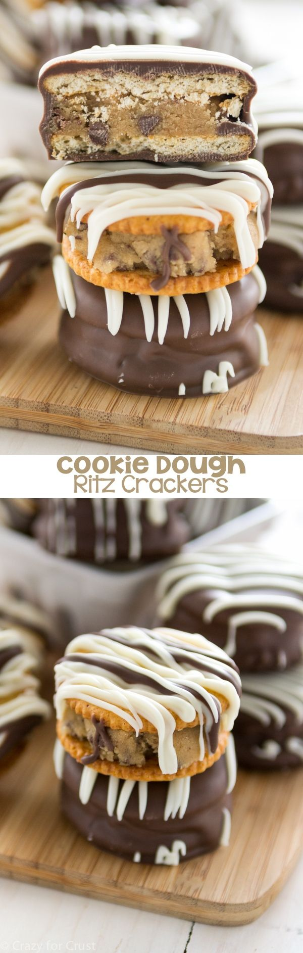 Cookie Dough Ritz Crackers have eggless chocolate chip cookie dough sandwiched between two Ritz crackers and then dipped in chocolate.