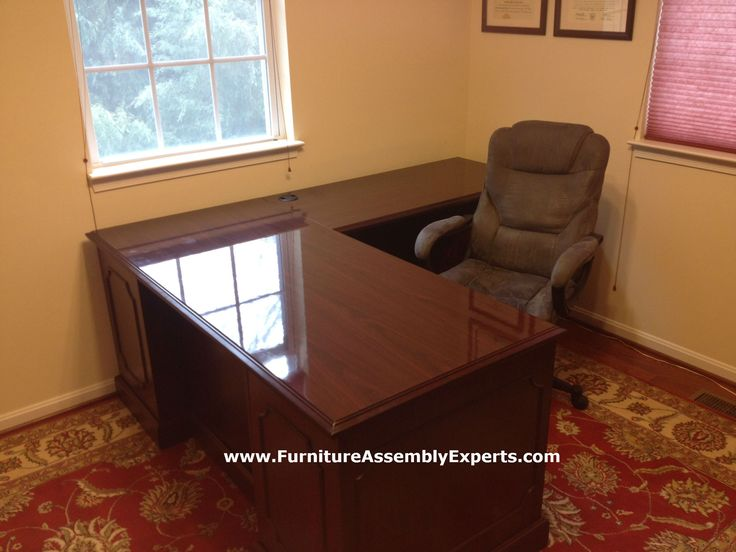 Sauder L Shaped Office Desk From Staples Assembled For A Company In Tysons Corner VA