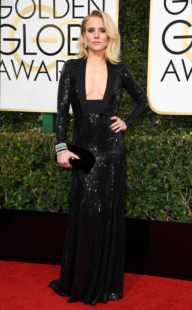 Plunging Necklines from 2017 Golden Globes' Sexiest Trends Kristen Bell killed it in all black.