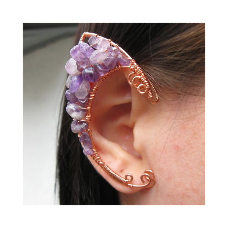 Wicked Clothes  - Amethyst / Copper Elven Ear Cuffs  Pieces of fine...