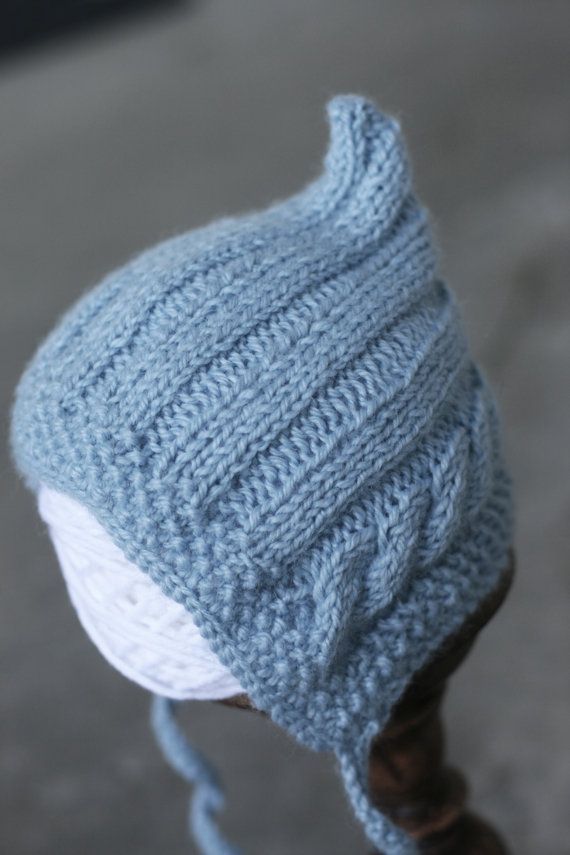 Hand knit newborn gnome hat, cute - seed stitch, cable and ribbing