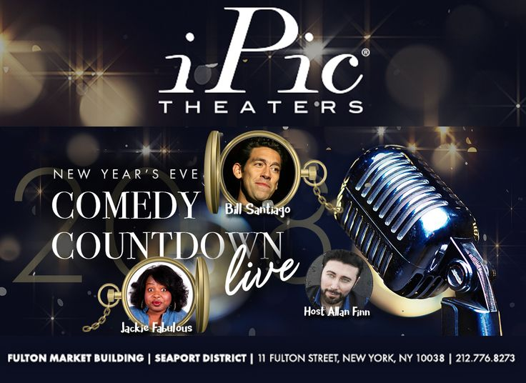 Hey, NY, looking for something cool to do on New Years Eve? We've got a first-class show at iPic Theaters in Fulton Market: A night of live comedy with Bill Santiago and Jackie Fabulous. Full bar and restaurant service in your seats. Will definitely be a night to remember. Tickets at https://www.ipictheaters.com/#/nyecomedy