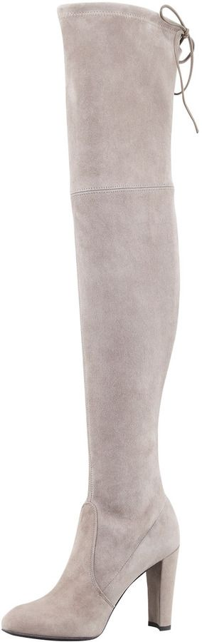 Stuart Weitzman Highland Suede Over-the-Knee Boots, Topo at Neiman Marcus