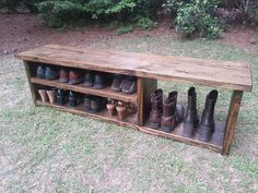 Rustic Entryway Bench Boot Bench With Shoe by CoastalOakDesigns